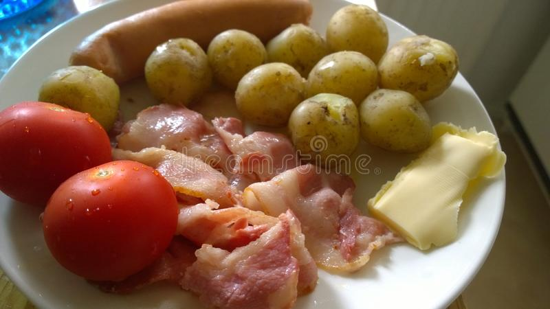 Sausage potato lunch royalty free stock images