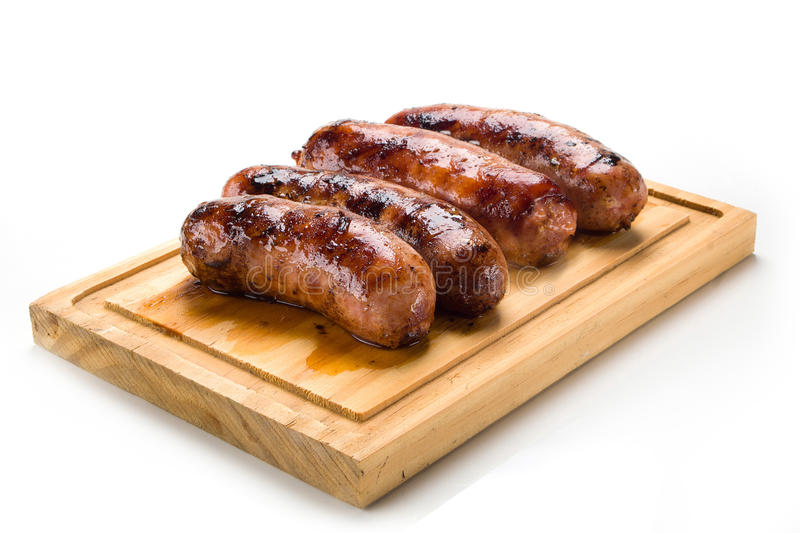 Sausage roasted on the grill. royalty free stock image