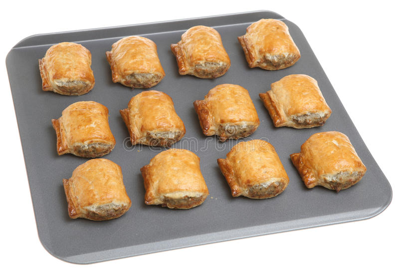 Sausage Rolls On Baking Tray Royalty Free Stock Photography