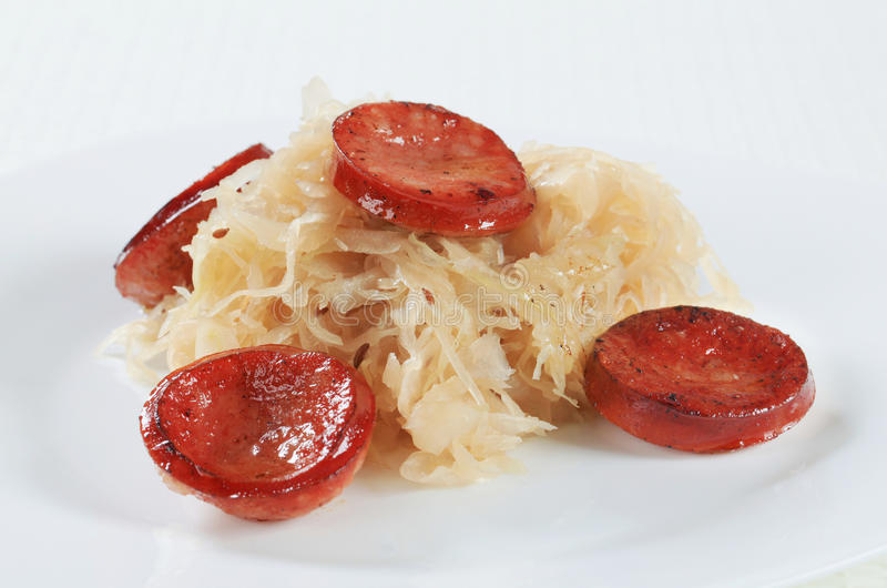 Sausage And Sauerkraut Royalty Free Stock Images