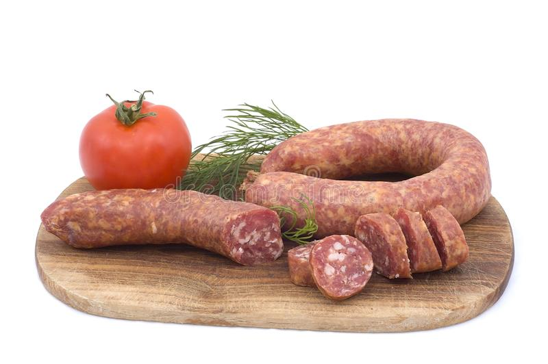 Sausage with tomato and dill royalty free stock images