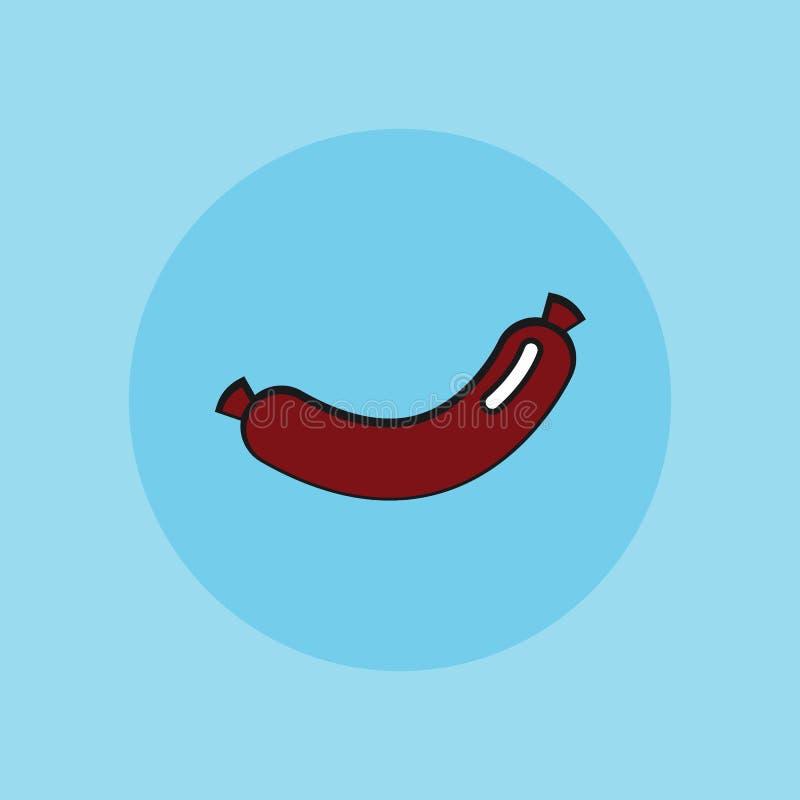 Sausage, vector sign illustration icon. Sausage, vector sign flat illustration icon royalty free illustration