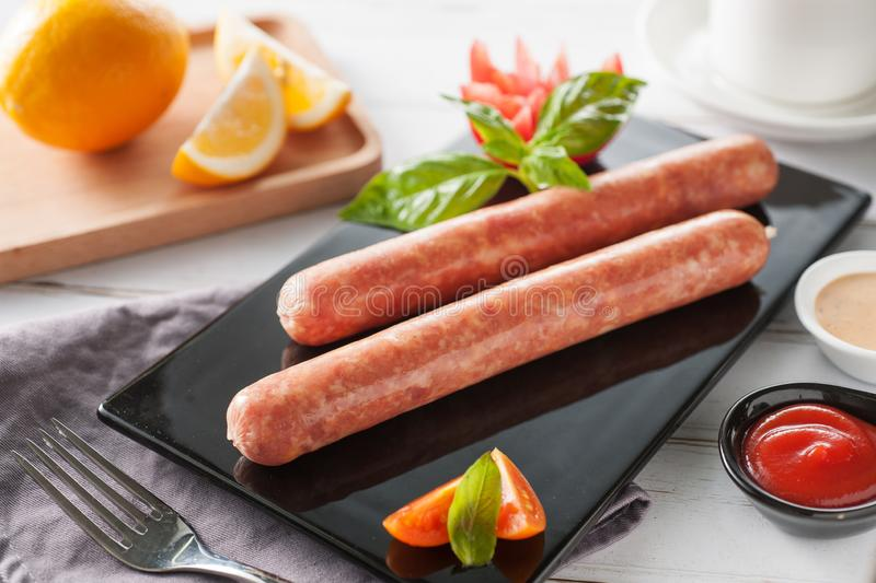 Sausage on white background stock photography