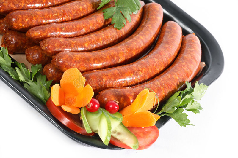 Download Sausages stock photo. Image of white, meaty, meat, background - 8671006