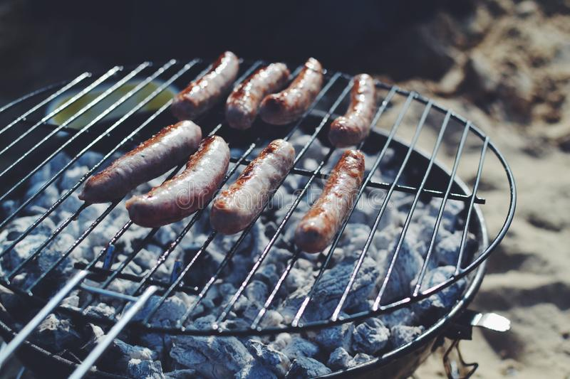 Sausages On Black Barbecue Grill Free Public Domain Cc0 Image