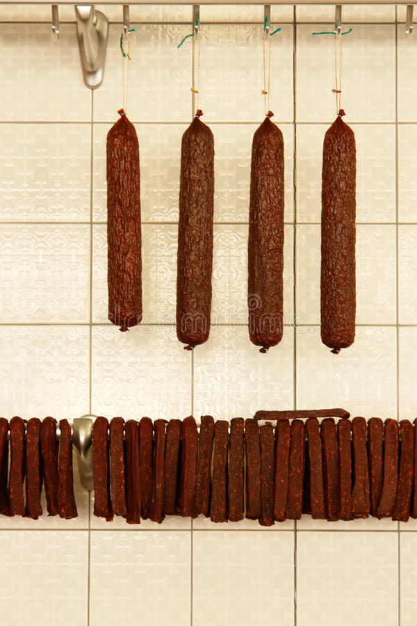 Sausages In Butcher Shop Royalty Free Stock Images
