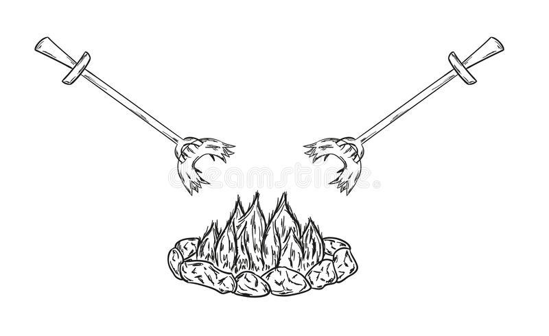 Sausages on fire stock illustration
