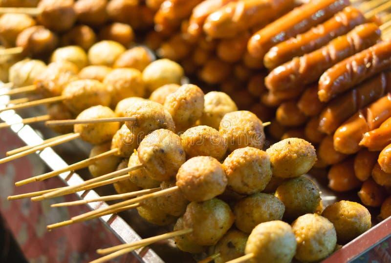 Sausages food at walking street, selective focus stock image