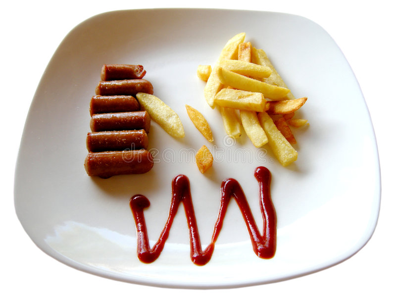Download Sausages, French Fries And Ketchup Stock Image - Image: 8005887