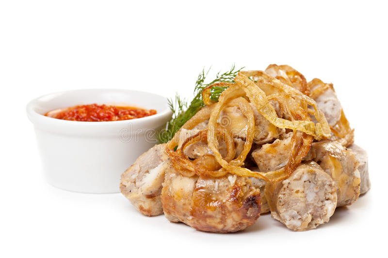 Sausages Fried With Spicy Tomato Sauce Stock Photo