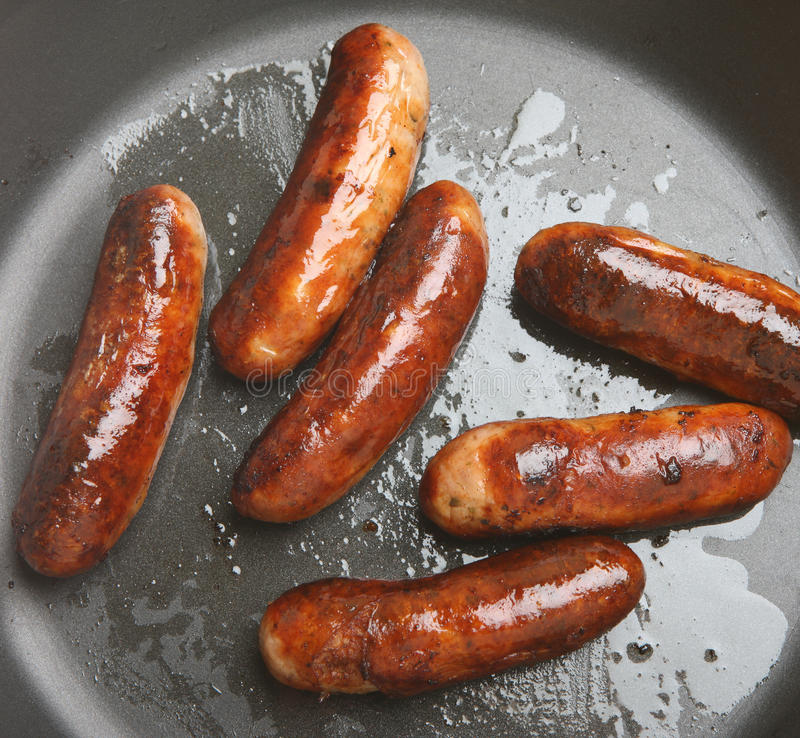 Sausages Frying In Pan Stock Photo Image Of Sausages