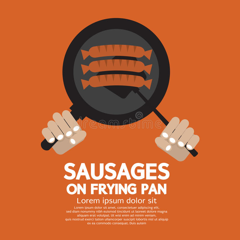Sausages On Frying Pan. Vector Illustration royalty free illustration