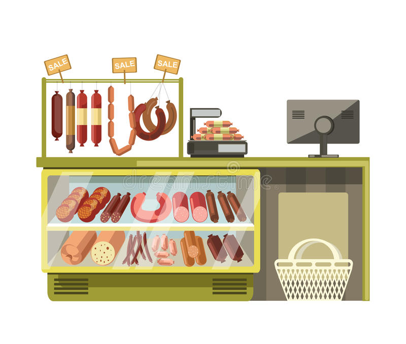 Butchery met sausages shop counter of supermarket store product vector flat display. Sausages gastronomy or butchery meat shop counters in supermarket. Grocery vector illustration