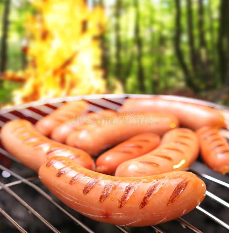 Download Sausages on a grill. stock image. Image of forest, food - 26449071