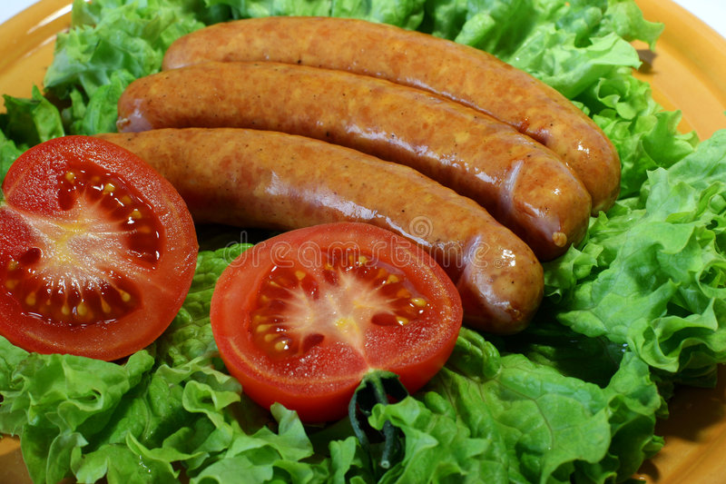 Sausages a grill stock photo