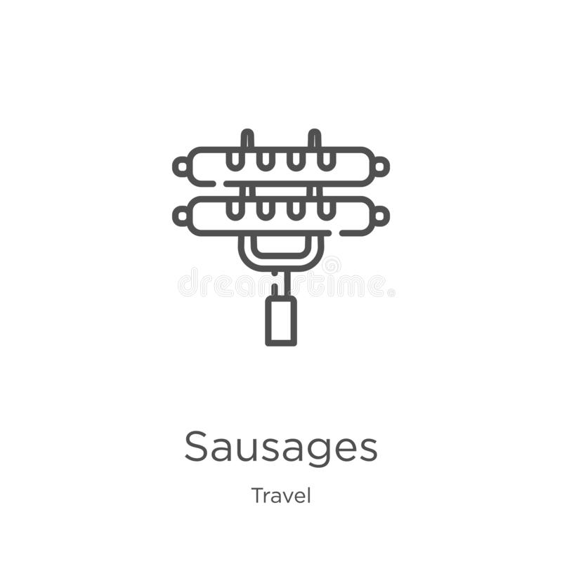 Sausages icon vector from travel collection. Thin line sausages outline icon vector illustration. Outline, thin line sausages icon. Sausages icon. Element of stock illustration