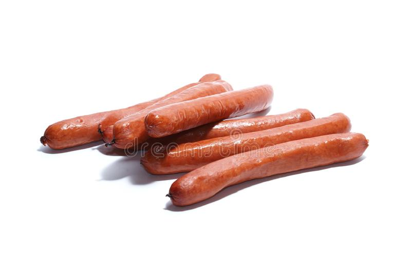 Sausages isolated on white stock images