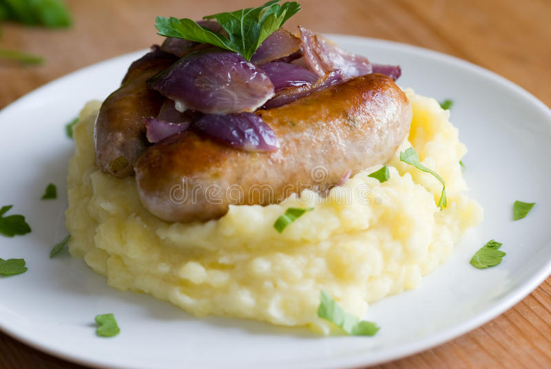 Sausages and mash stock photography