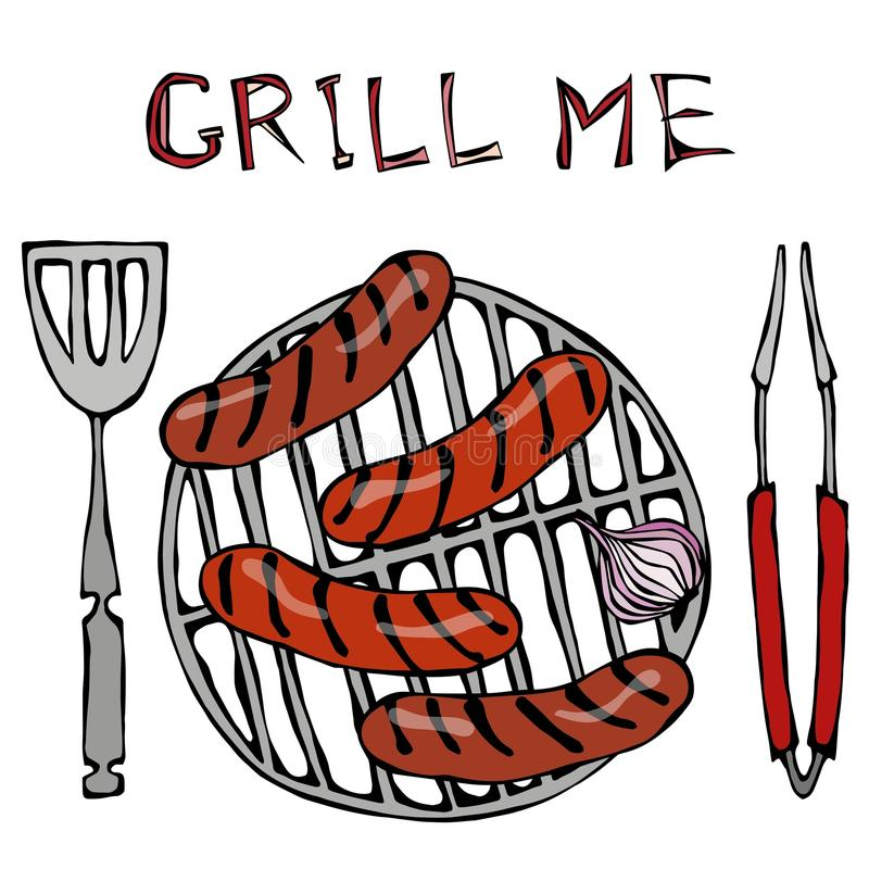 Sausages and Onion on The BBQ Grill. Lettering Grill Me. Barbecue Logo. Isolated On a White Background. Realistic Doodle Cartoon S. Sausages and Onion on The BBQ stock illustration