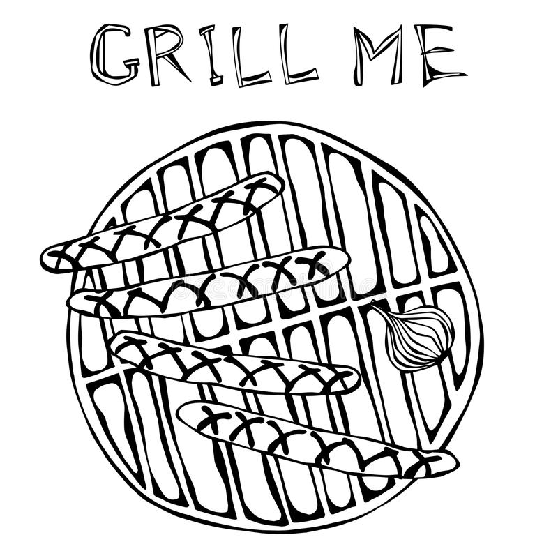 Sausages and Onion on The BBQ Grill. Lettering Grill Me. Barbecue Logo. Isolated On a White Background. Realistic Doodle Cartoon S. Sausages and Onion on The BBQ vector illustration