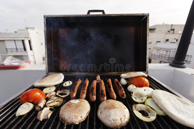 Download Urban Rofftop Grillin' stock image. Image of pita, outdoor - 29802131