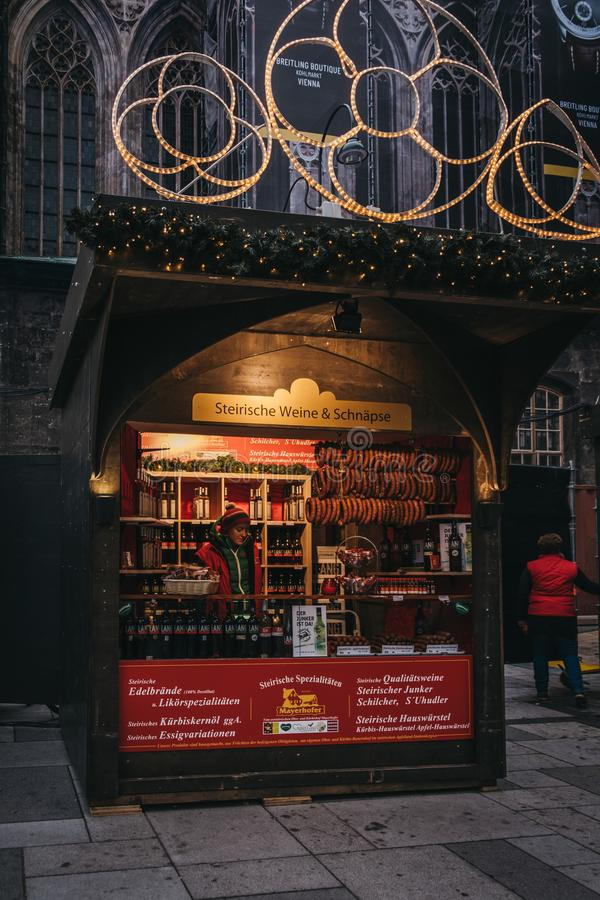 Sausages and schnapps Christmas market stall near St. Stephen Ca royalty free stock image