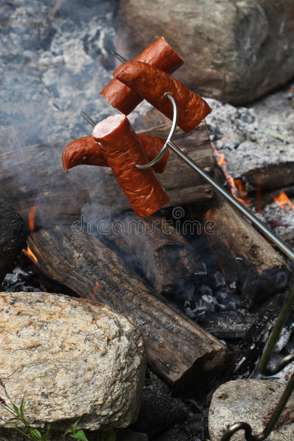 Download Sausages on the stick stock image. Image of recreation - 25779409