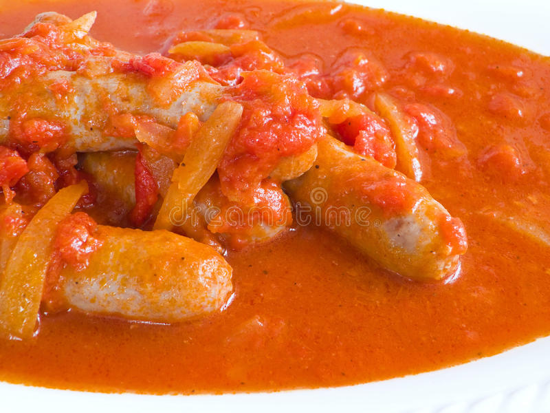 Download Sausages in tomato sauce. stock image. Image of beef - 13040161