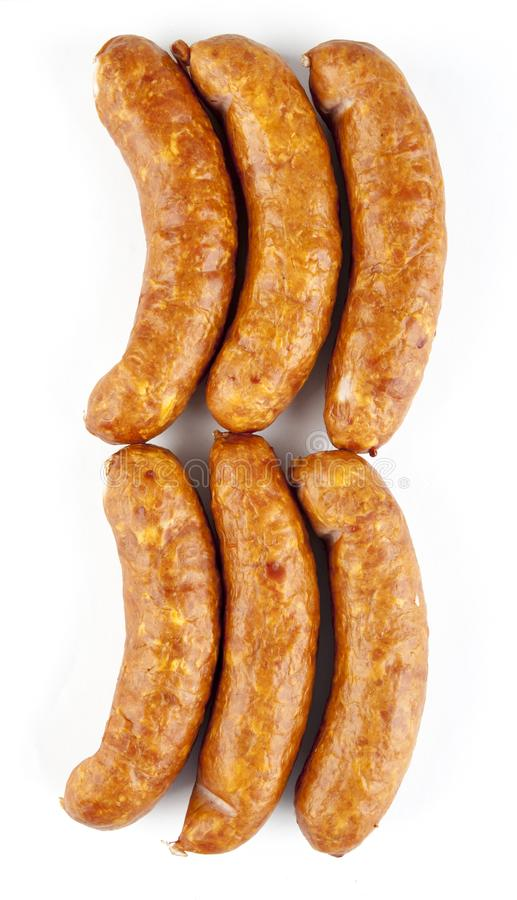 Sausages on a white background stock photography