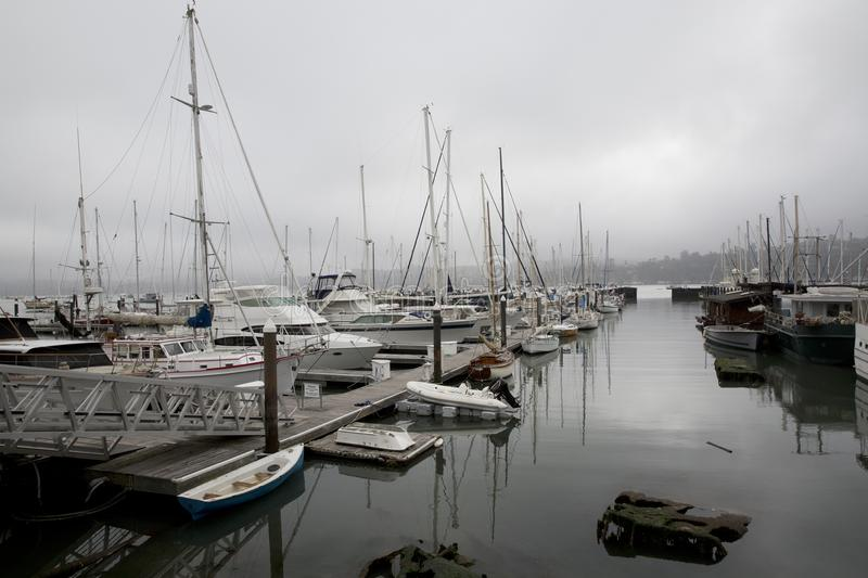 Sausalito harbor on overcast day royalty free stock photography