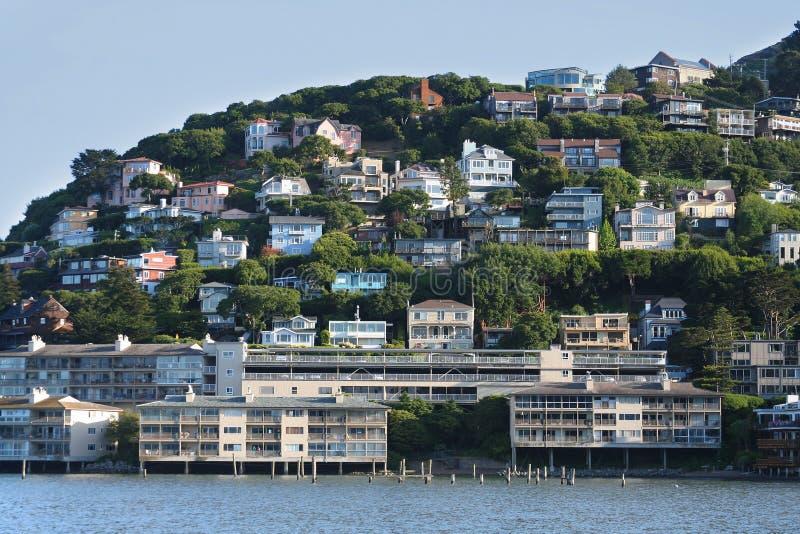 Sausalito Hillside Homes royalty free stock photos