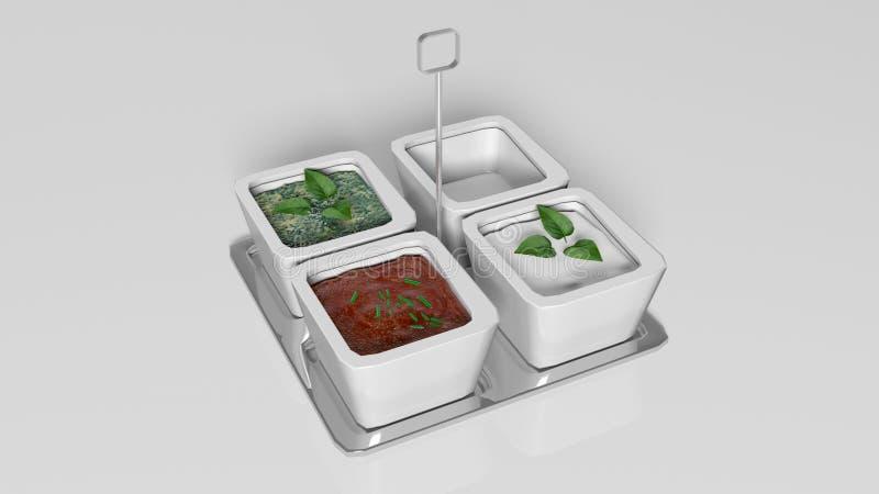 Sausenselectie; onderdompeling, tomatensaus en zout in vierkante schotels op een zilveren die dienblad op wit wordt geïsoleerd stock illustratie