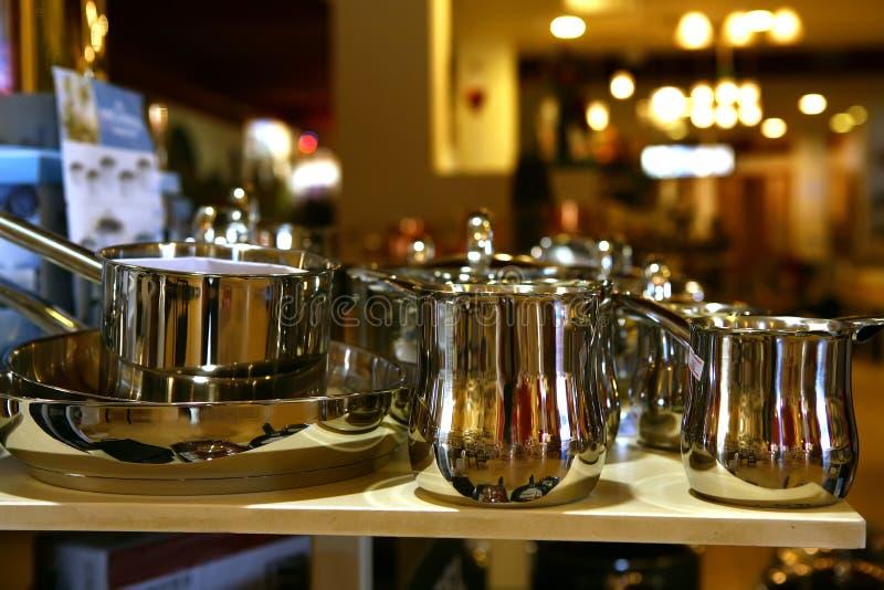 sausepans不锈钢盘 库存照片