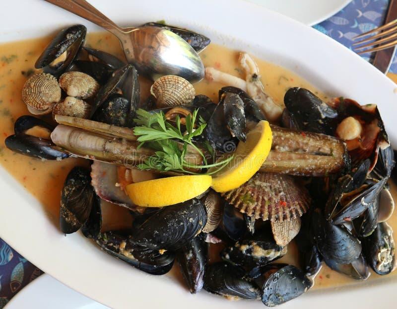 Sauté di frutti di mare con le cozze, le vongole, i cannolicchi ed i pettini in salsa di vino bianco immagini stock