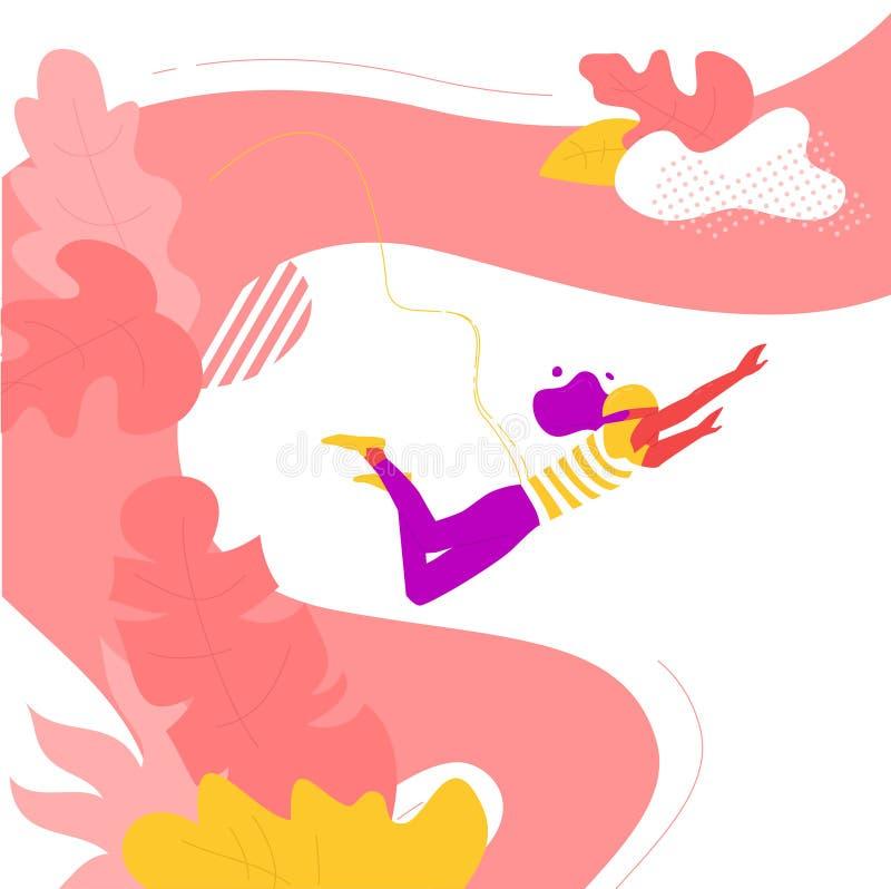 Saut à l'élastique de femme en été illustration de vecteur
