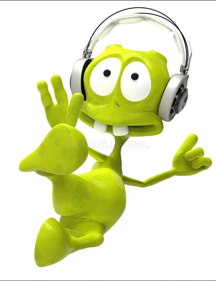 Saut étranger de karaté de dessin animé du DJ illustration de vecteur