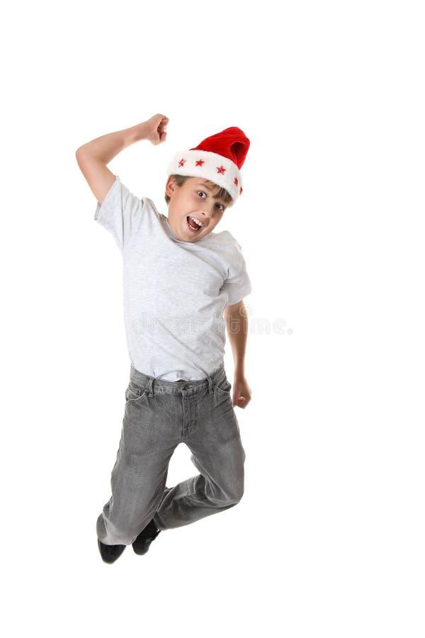 Saut de Noël pour la joie photo stock