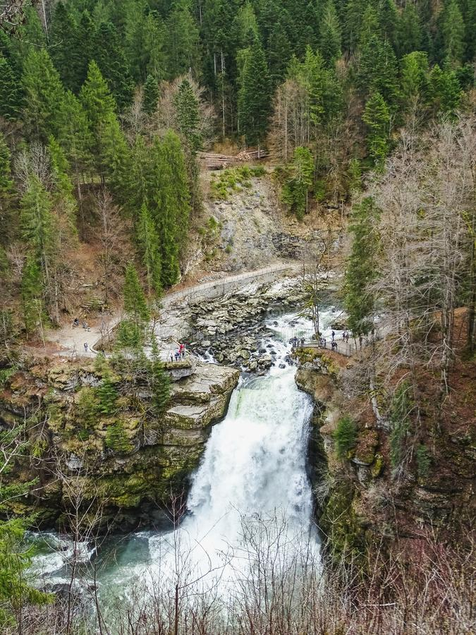 Saut du doubs biggest waterfall in the region of doubs. Border france switzerland stock image