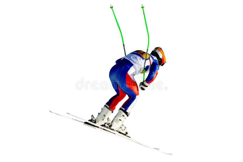 Saut incliné de slalom de coureur photo libre de droits