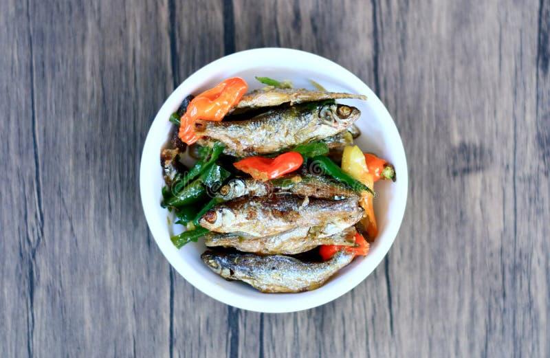 Sauteed рыбы камсы стоковые изображения rf