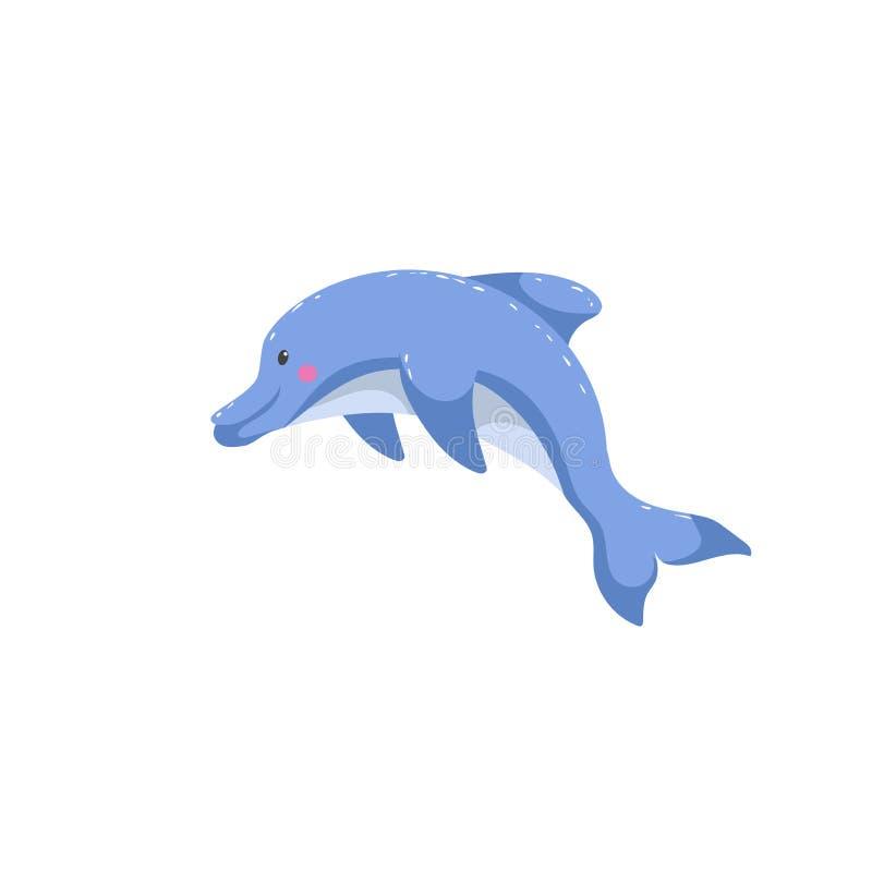 Sauter à la mode de dauphin de style de bande dessinée Conception amicale d'enfant pour l'éducation Gradients simples illustration de vecteur