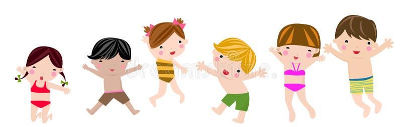 Sauter d'enfants d'été illustration stock