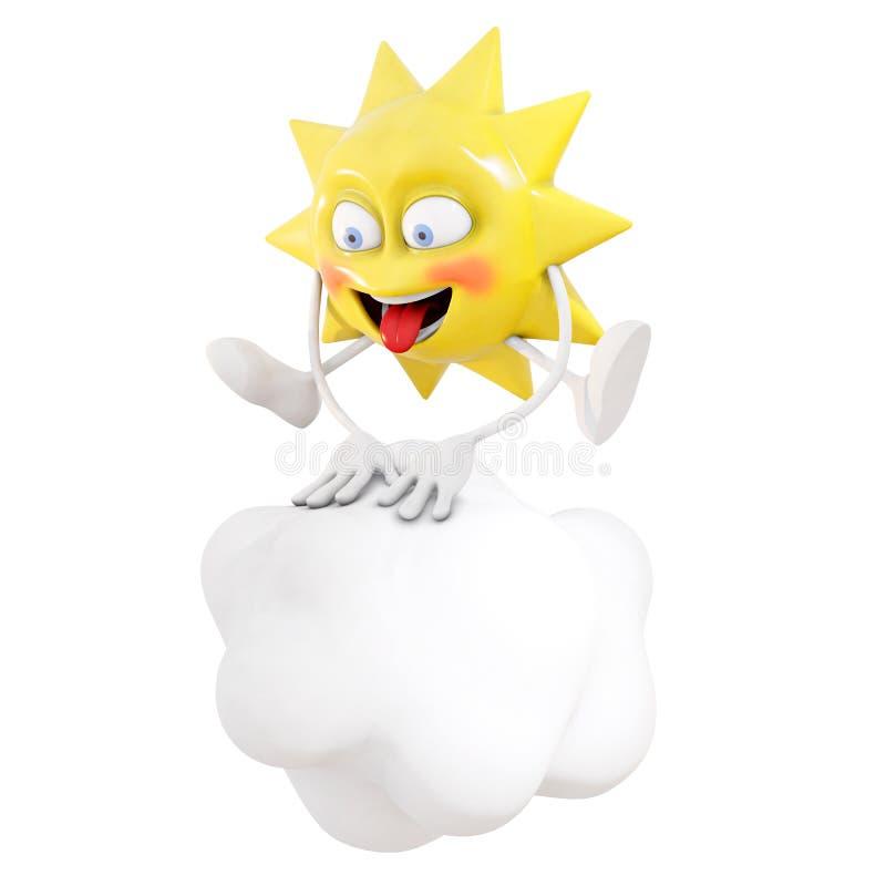 sauter de jeu de caractère du soleil 3D à saute-mouton par-dessus un nuage illustration libre de droits