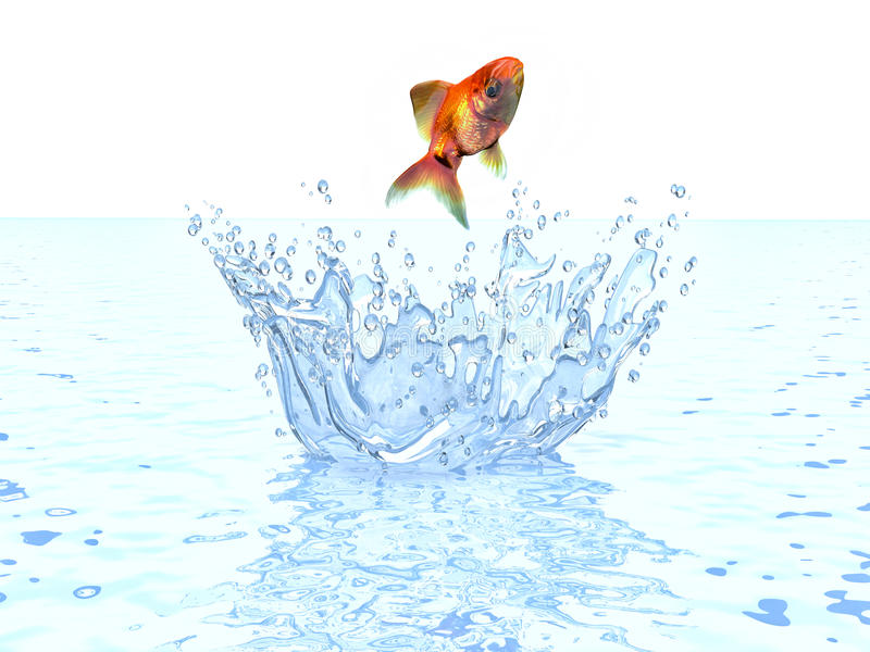Sauter de poisson rouge de l 39 eau illustration stock for Eau pour poisson rouge