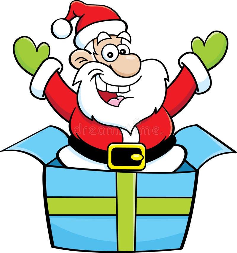 Sauter de Santa Claus de bande dessinée d'un boîte-cadeau illustration stock