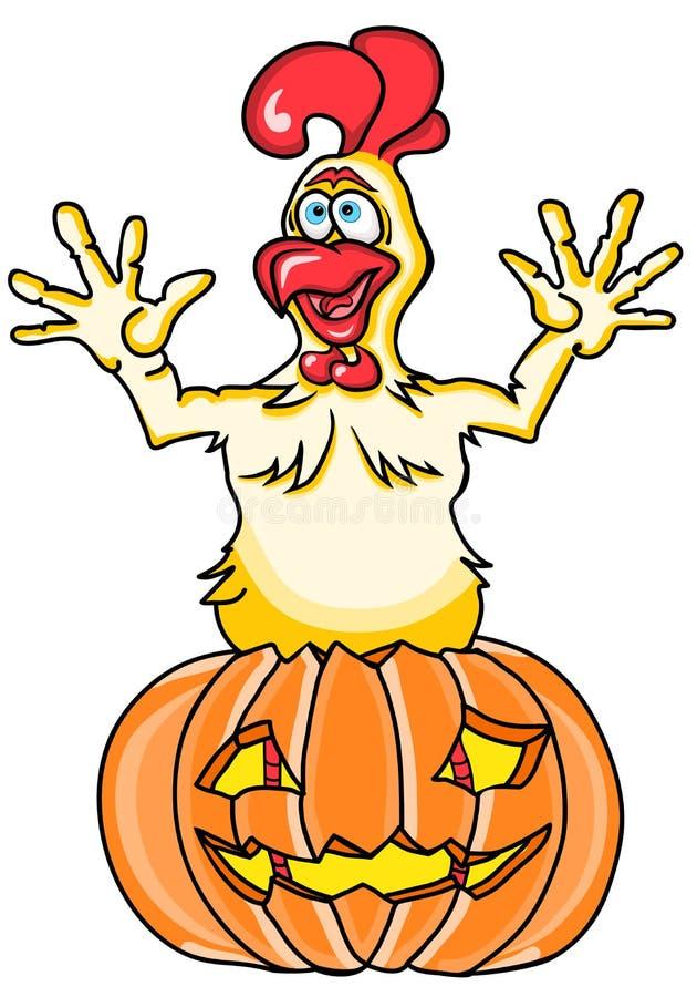 Sauter drôle de coq de bande dessinée de Halloween d'un potiron d'un potiron sur un fond blanc photos stock