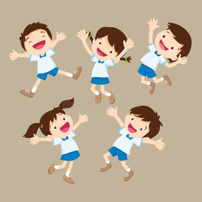 Sauter mignon de garçon et de fille d'étudiant soit de diverses actions heureuses illustration de vecteur