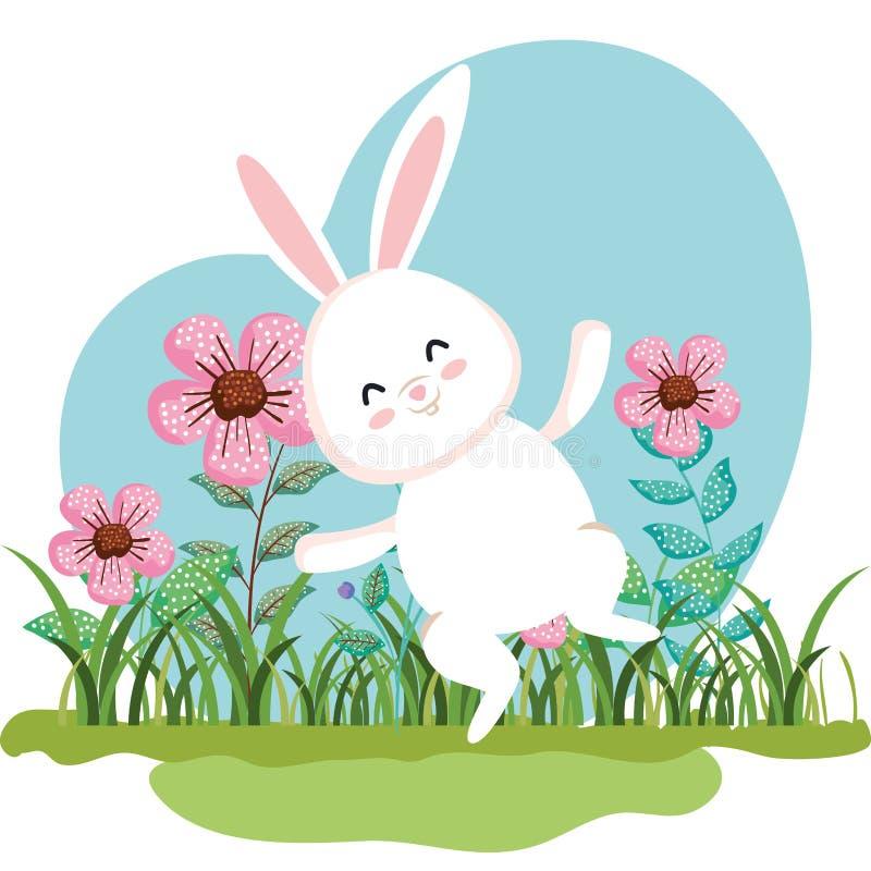 Sauter mignon de lapin et usines de fleurs avec des feuilles illustration stock