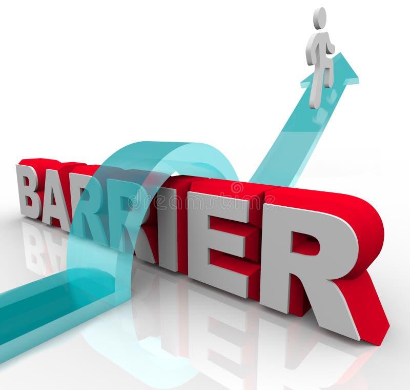 Sauter par-dessus des barrières - l'homme conduit la flèche au-dessus du mot illustration stock