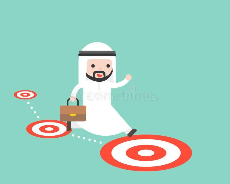 Sauter saoudien arabe d'homme d'affaires suivent le chemin de cible, pensent grand illustration stock
